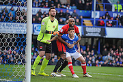 Portsmouth Forward, Conor Chaplin (19) marked by Leyton Orient Midfielder, Nigel Atangana (15) and Leyton Orient Goalkeeper, Alex Cisak (1) during a corner during the EFL Sky Bet League 2 match between Portsmouth and Leyton Orient at Fratton Park, Portsmouth, England on 14 January 2017. Photo by Adam Rivers.