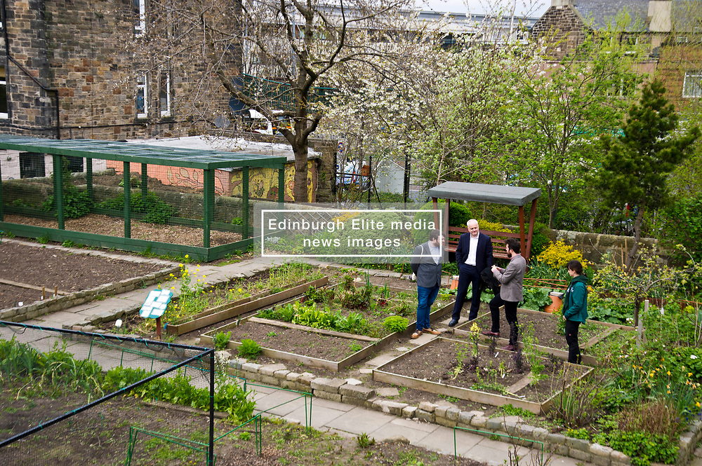 Pictured: Mark Ruskell, Josiah Lockhart, Gorgie City Farm Chief Executive,  Dan Heal, Sarah Campbell, Development and fundraising manager <br /> Scottish Greens on local election campaign trail. Mark Ruskell MSP, the party's environment spokesperson, joined candidate for the Sighthill/Gorgie ward Dan Heap on a visit to Gorgie city farm. The pair met Chief executive of the farm, Josiah Lockhart and Development and fundraising manager, Sarah Campbell during their tour.<br /> <br /> <br /> Ger Harley   EEm 19 April 2017