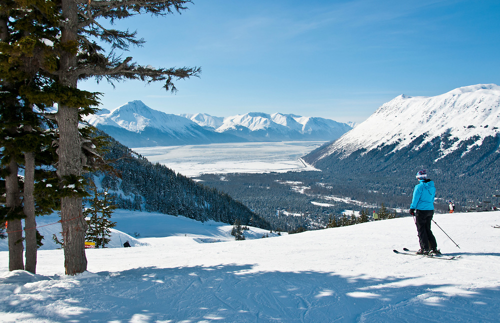 Alaska, Girdwood, In winter ski and snowboarders flock to Mt Alyeska  for outdoor recreation
