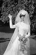 """05/09/1962<br /> 09/05/1962<br /> 05 September 1962<br /> Wedding of Fergus Keogh of """"Eagleville"""", Strandville Avenue, Clontarf, Dublin to Miss Miriam Caffrey, Church Avenue, Drumcondra Dublin at the Church of the Visitation of the BVM, Fairview with reception at St. Lawrence Hotel, Howth. Mr. keogh was full-back for Bective Rangers at the time. The bride in the hotel grounds."""
