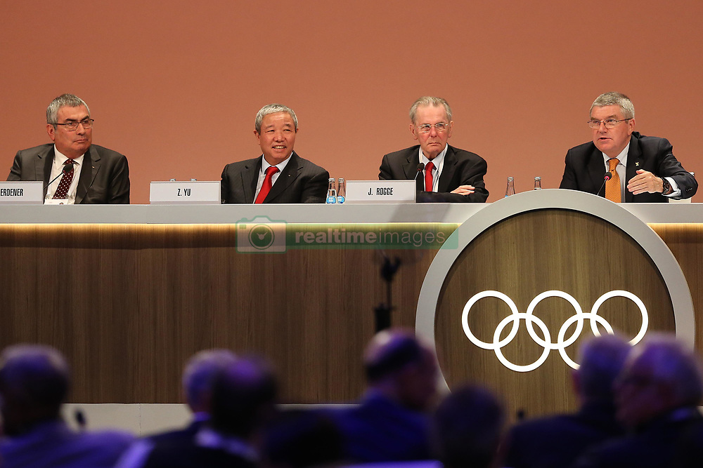 LIMA, Sept. 16, 2017  International Olympic Committee (IOC) President Thomas Bach (1st R) speaks during the 131st IOC session in Lima, Peru, on Sept. 15, 2017. The 131st IOC session concluded on Friday. (Credit Image: © Li Ming/Xinhua via ZUMA Wire)