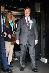 © Licensed to London News Pictures. 16/05/2019. Brentwood, Essex, UK.  Nigel Farage leaving the Brexit Party campaign event held at the Sugar Hut in Brentwood, Essex. Photo credit: Vickie Flores/LNP