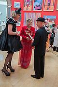 GRAYSON PERRY; DAME JILLIAN SACKLER; DAVID RENFREY, Royal Academy of Arts Annual dinner. Piccadilly. London. 29 May 2012.