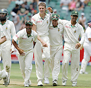 Hashim Amla, Ashwell Prince, Morne Morkel, AB de Villiers andJean Paul (JP) Duminy celebrate the wicket of Matt Prior during day 4 of the 4th Castle Test between South Africa and England held at The Bidvest Wanderers Stadium in Johannesburg, South Africa on the 17 January 2010.Photo by:  Ron Gaunt/SPORTZPICS
