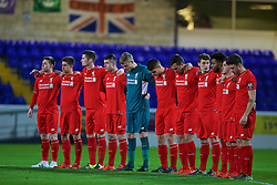 CHESTER, ENGLAND - Friday, October 23, 2015: Liverpool players stand for a minute's silence before the Premier League International Cup match against Benfica at the Deva Stadium. (Pic by David Rawcliffe/Propaganda)
