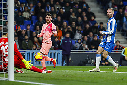 December 8, 2018 - Barcelona, Catalonia, Spain - FC Barcelona forward Lionel Messi (10) and RCD Espanyol forward Leo Baptistao (11) during the match RCD Espanyol against FC Barcelona, for the round 15 of the Liga Santander, played at RCD Espanyol Stadium  on 8th December 2018 in Barcelona, Spain. (Credit Image: © Mikel Trigueros/NurPhoto via ZUMA Press)