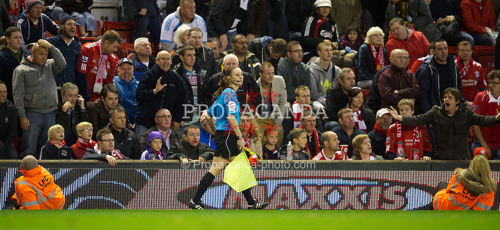 LIVERPOOL, ENGLAND - Saturday, November 5, 2011: Liverpool supporters show they surprise as assistant referee Sian Massey disallows a Liverpool goal during the Premiership match against Swansea City at Anfield. (Pic by David Rawcliffe/Propaganda)