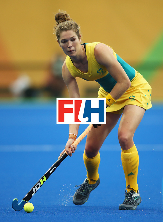 RIO DE JANEIRO, BRAZIL - AUGUST 10:  Georgina Morgan of Australia in action during the Women's Pool B Match between India and Australia on Day 5 of the Rio 2016 Olympic Games at the Olympic Hockey Centre on August 10, 2016 in Rio de Janeiro, Brazil.  (Photo by Mark Kolbe/Getty Images)