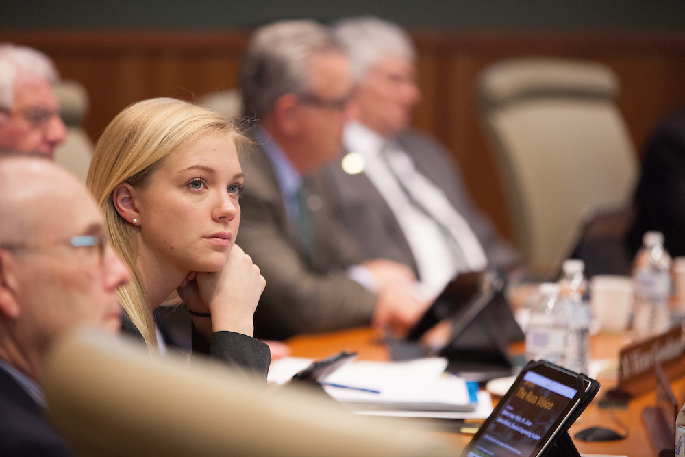 Ohio University student trustee Amanda Roden listens in as the a presentiation by Russ College  of Engineering and Technology during the Board of Trustees meeting  in Athens Ohio Friday, March 14, 2014 .   Photo by Ohio University / Jonathan Adams