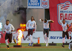 July 19, 2018 - Houston, TX, U.S. - HOUSTON, TX - JULY 19:  Fighting Cancer team enters the field during the American Flag Football League Ultimate Final game between the Fighting Cancer and Godspeed on July 19, 2018 at BBVA Compass Stadium in Houston, Texas.  (Photo by Leslie Plaza Johnson/Icon Sportswire) (Credit Image: © Leslie Plaza Johnson/Icon SMI via ZUMA Press)