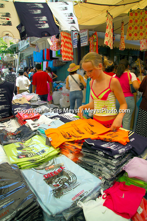 Bodrum, Turkey, July 2004. Speces, textiles and cheap cologne are offered at the Milas Market, close to Bodrum.  Photo by Frits Meyst/Adventure4ever.com