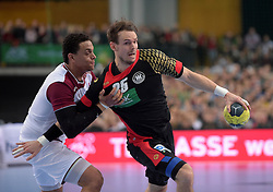 11.03.2016, Leipzig, GER, Handball L&auml;nderspiel, Deutschland vs Katar, Herren, im Bild Kai H&auml;fner / Haefner (GER #25) gegen Youssef Benali (QAT #41) // during the men's Handball international Friendlies between Germany and Qatar in Leipzig, Germany on 2016/03/11. EXPA Pictures &copy; 2016, PhotoCredit: EXPA/ Eibner-Pressefoto/ Modla<br /> <br /> *****ATTENTION - OUT of GER*****