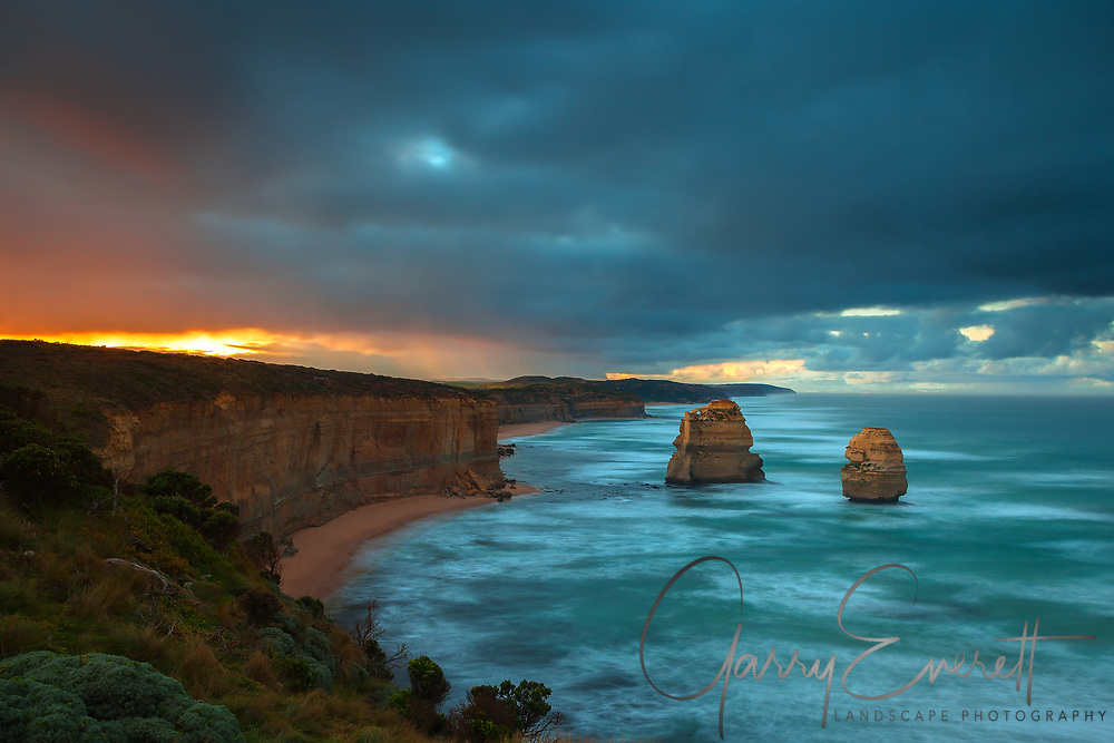 Sunrise at Gog and Magog with storm clouds, along the Great Ocean Road.