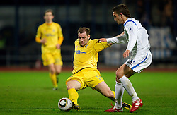 Mitja Zatkovic of Domzale vs Alen Joan of Gorica during football match between NK Domzale and HIT Gorica of 25th Round of PrvaLiga, on April 1, 2011, in Sports park Domzale, Slovenia. (Photo by Vid Ponikvar / Sportida)