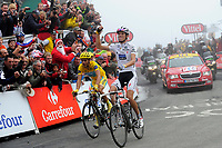 CYCLING - TOUR DE FRANCE 2010 - LA MONGIE (FRA) - 22/07/2010 - PHOTO : VINCENT CURUTCHET / DPPI - <br /> STAGE 17 - PAU > COL DU TOURMALET - ANDY SCHLECK (LUX) / SAXO BANK / WINNER AND ALBERTO CONTADOR (ESP) / ASTANA / LEADER