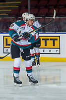 KELOWNA, CANADA - JANUARY 25:  Mark Liwiski #9 of the Kelowna Rockets warms up against the Victoria Royals on January 25, 2019 at Prospera Place in Kelowna, British Columbia, Canada.  (Photo by Marissa Baecker/Shoot the Breeze)