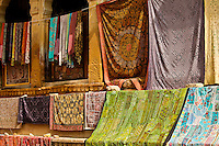 Colorful fabrics for sale at a market in India. Culture and lifestyle exotic places and fine art photography prints.