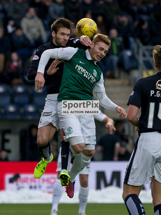 Falkirk v Hibernian   SPFL season 2015-2016  <br /> <br /> Luke Leahy (Falkirk)  and Fraser Fyvie (Hibernian) during the Ladbrokes Championship match between Falkirk v Hibernian at Falkirk Stadium on Sunday 17 January 2016<br /> <br /> Picture: Alan Rennie