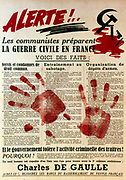 Anti-Communist pro-Gaullist poster, 1949, containing support for De Gaulle and a warning against descent into civil war in France