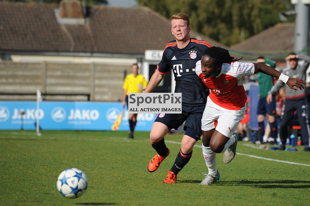 Arsenals Tafari Moore and Bayern Munichs Dominik Martonvic in action during the Arsenal u19 v Bayern Munich u19 match on Tuesday 20th October 2015 in the UEFA Youth League at Borehamwood
