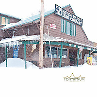 deep snow, homes in east glacier park montana