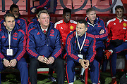 Manchester United Manager Louis van Gaal and Ryan Giggs before the Barclays Premier League match between Bournemouth and Manchester United at the Goldsands Stadium, Bournemouth, England on 12 December 2015. Photo by Phil Duncan.