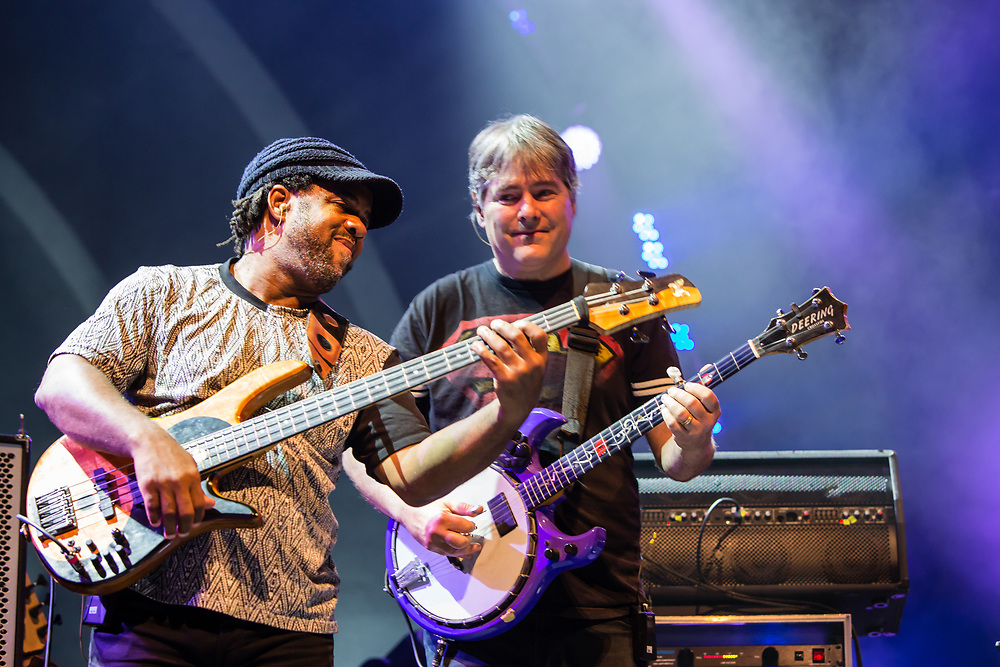3 August 2017 – Brooklyn, NY. Singer Nellie McKay opened for Béla Fleck and the Flecktones to a large crowd at the BRIC Celebrate Brooklyn! Festival at the Prospect Park Bandshell. The Flecktones' bassist Victor Wooten and Béla  Fleck.