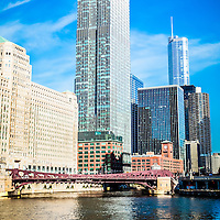 Picture of Chicago skyline along the Chicago River at the Franklin-Orleans Street Bridge with Merchandise Mart, 300 North LaSalle building, and Trump Tower. Picture was taken in 2011.