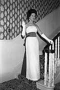 12/09/1962<br /> 09/12/1962<br /> 12 September 1962<br /> Fashion: Veronica Jaye Autumn/Winter collection 1962 fashion show at the Northbrook Hotel, Dublin. White quipure lace ball gown, worn by Maida.