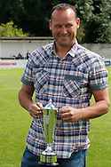 Picture by David Horn/Focus Images Ltd. 07545 970036.04/08/12.Chesham United groundsman, Craig Russe,, receives the Southern League Groundsman of the year award prior to a friendly match against Arsenal at The Meadow, Chesham.