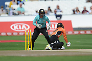 Tammy Beaumont of Southern Vipers is stumped by Sarah Taylor during the Women's Cricket Super League match between Southern Vipers and Surrey Stars at the 1st Central County Ground, Hove, United Kingdom on 14 August 2018.