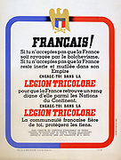 World War II 1939-1945: Poster for the Legion Tricolore, an unsuccessful Vichy government attempt between July to October 1942 to create a fighting unit of French collaborators and volunteers independent of the Germans. France