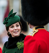 17.03.2018: KATE MIDDLETON RECYCLES 2014 HAT<br /> The Duchess of Cambridge sported the same Gina Foster hat that she last wore to the 2014 St. Patrick's Day Parade at Mons Barracks, Aldershot for today's parade at Cavalry Barracks.<br /> It appears that Kate is taking a leaf out of Princess Anne by recycling her clothes.<br /> Mandatory Credit Photo: NEWSPIX INTERNATIONAL<br /> <br /> IMMEDIATE CONFIRMATION OF USAGE REQUIRED:<br /> Newspix International, 31 Chinnery Hill, Bishop's Stortford, ENGLAND CM23 3PS<br /> Tel:+441279 324672  ; Fax: +441279656877<br /> Mobile:  07775681153<br /> e-mail: info@newspixinternational.co.uk<br /> *All fees payable to Newspix International*