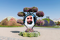Portrait of Khalifa bin Zayed Al Nahyan President of the UAE at Miracle Garden in Dubai UAE, Opened in March 2013 and claimed to World's largest flower garden