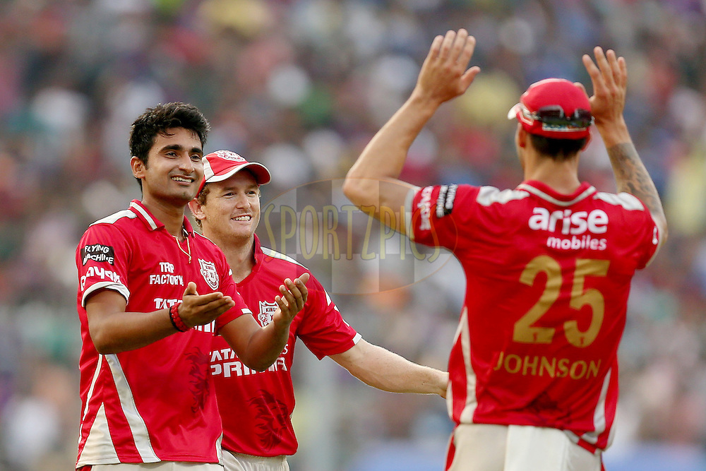 Karanveer celebrates the wicket of Shakib Al Hasan during the first qualifier match (QF1) of the Pepsi Indian Premier League Season VII 2014 between the Kings XI Punjab and the Kolkata Knight Riders held at Eden Gardens Cricket Stadium, Kolkata, India on the 28th May 2014. Photo by Jacques Rossouw / IPL / SPORTZPICS<br /> <br /> <br /> <br /> Image use subject to terms and conditions which can be found here:  http://sportzpics.photoshelter.com/gallery/Pepsi-IPL-Image-terms-and-conditions/G00004VW1IVJ.gB0/C0000TScjhBM6ikg
