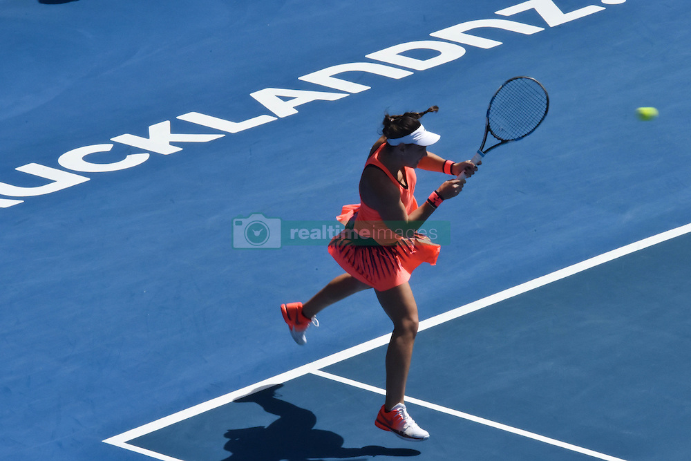 January 7, 2017 - Auckland, Auckland, New Zealand - Ana Konjuh of Croatia plays a backhand during her single final match against Lauren Davis of USA at the WTA ASB Classic tennis tournament in Auckland, New Zealand on Jan 7. (Credit Image: © Shirley Kwok/Pacific Press via ZUMA Wire)