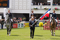Team France<br /> Kevin Staut, Marc Dilasser, Olivier Guillon and chef d'equipe Philippe Guerdat<br /> Furusiyya FEI Nations Cup<br /> CSIO La Baule 2013<br /> © Dirk Caremans
