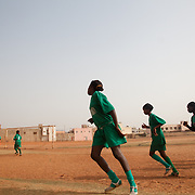 Girls of Les Amazones of Bakodjikoronì (Bamako) warming before second match of a national league, against Malisadio, other team of Bamako