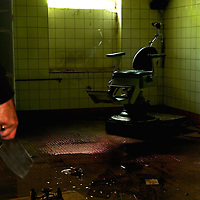 An old dentist chair in an abandoned Soviet hospital in East Germany