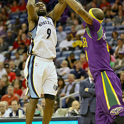 Feb 1, 2016; New Orleans, LA, USA; Memphis Grizzlies guard Tony Allen (9) shoots over New Orleans Pelicans forward Dante Cunningham (44) during the second quarter of a game at the Smoothie King Center. Mandatory Credit: Derick E. Hingle-USA TODAY Sports
