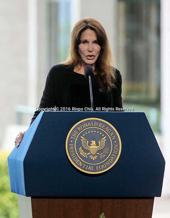 Patti Davis daughter of Nancy Reagan speaks during a funeral service for the former first lady Nancy Reagan at the Ronald Reagan Presidential Library and Museum in Simi Valley, California on March 11, 2016. Reagan died of congestive heart failure in her sleep at her Bel Air home Sunday at age 94. A bout 1,000 guests from the world of politics attended the final farewell to Nancy Reagan as the former first lady is eulogized and laid to rest next to her husband at his presidential library.<br />    (Photo by Ringo Chiu/PHOTOFORMULA.com)<br /> <br /> Usage Notes: This content is intended for editorial use only. For other uses, additional clearances may be required.