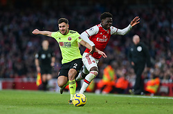 George Baldock of Sheffield United fouls Bukayo Saka of Arsenal - Mandatory by-line: Arron Gent/JMP - 18/01/2020 - FOOTBALL - Emirates Stadium - London, England - Arsenal v Sheffield United - Premier League