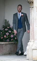England all-rounder Ben Stokes, outside St Mary the Virgin, East Brent, Somerset, following his marriage to wife Clare.