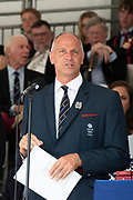 Henley on Thames, England, United Kingdom, 7th July 2019, Henley Royal Regatta, Speeches, Regatta Chairman, Sir Steven REDGRAVE Prize Giving ceremony,  Henley Reach, [© Peter SPURRIER/Intersport Image]<br /> <br /> 17:20:03 1919 - 2019, Royal Henley Peace Regatta Centenary,