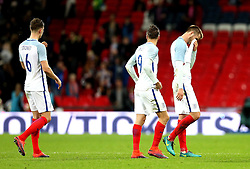Eric Dier of England, Jamie Vardy of England and John Stones of England look dejected after the 2-2 draw with Spain - Mandatory by-line: Robbie Stephenson/JMP - 15/11/2016 - FOOTBALL - Wembley Stadium - London, United Kingdom - England v Spain - International Friendly