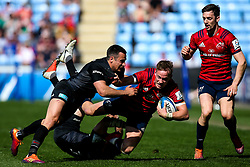 Mike Haley of Munster Rugby is tackled by Alex Lozowski of Saracens and David Strettle of Saracens - Mandatory by-line: Robbie Stephenson/JMP - 20/04/2019 - RUGBY - Ricoh Arena - Coventry, England - Saracens v Munster Rugby - Heineken Champions Cup Semi Final