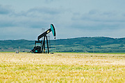 farmer's field and oil pump jack<br /> Carlyle<br /> Saskatchewan<br /> Canada