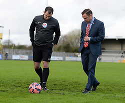 Caption correction*   Doncaster Rovers Manager, Paul Dickov inspect the pitch prior to kick off with Referee Tom Robinson - Photo mandatory by-line: Alex James/JMP - Mobile: 07966 386802 - 08/11/2014 - SPORT - Football - Weston-super-Mare - Woodspring Stadium - Weston-super-Mare v Doncaster - FA Cup - Round One