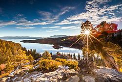 """Emerald Bay Sunrise 17"" - Photograph of a sunburst and Lake Tahoe's Emerald Bay shot at sunrise."