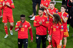 CARDIFF, WALES - Tuesday, November 19, 2019: Wales' Rabbi Matondo, Tyler Roberts and Ethan Ampadu celebrate after a 2-0 victory ensures qualification to Euro 2020 after the final UEFA Euro 2020 Qualifying Group E match between Wales and Hungary at the Cardiff City Stadium. (Pic by Paul Greenwood/Propaganda)
